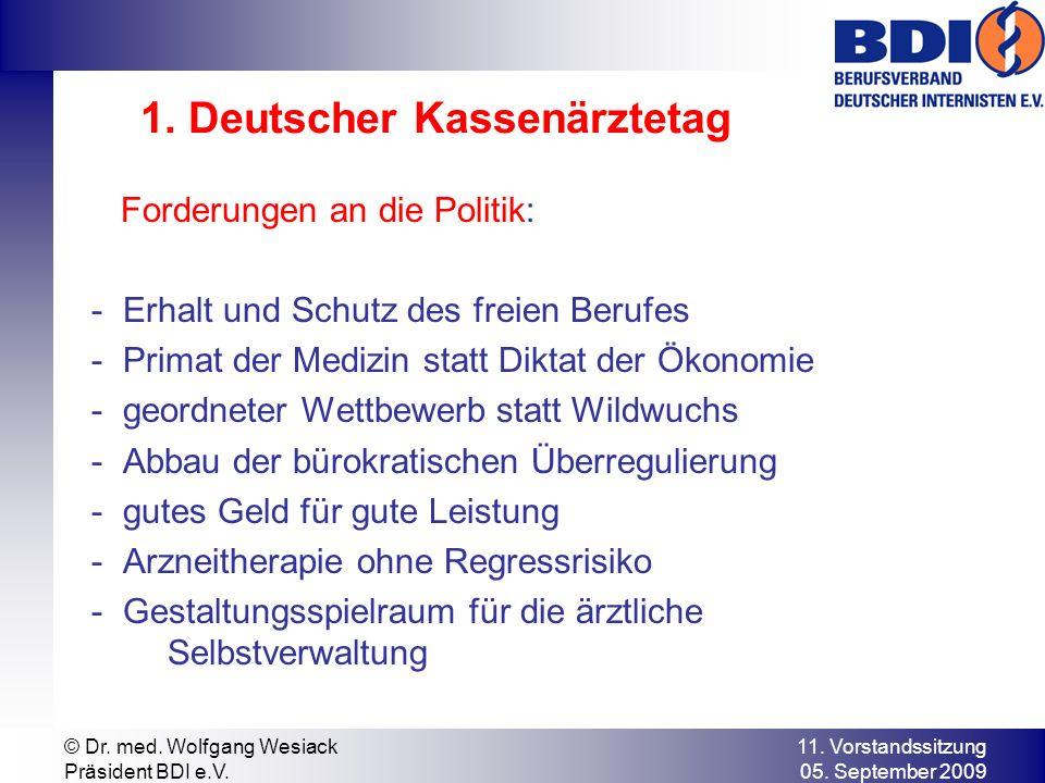 11. Vorstandssitzung 05. September 2009 © Dr. med. Wolfgang Wesiack Präsident BDI e.V. 1. Deutscher Kassenärztetag Forderungen an die Politik: - Erhal