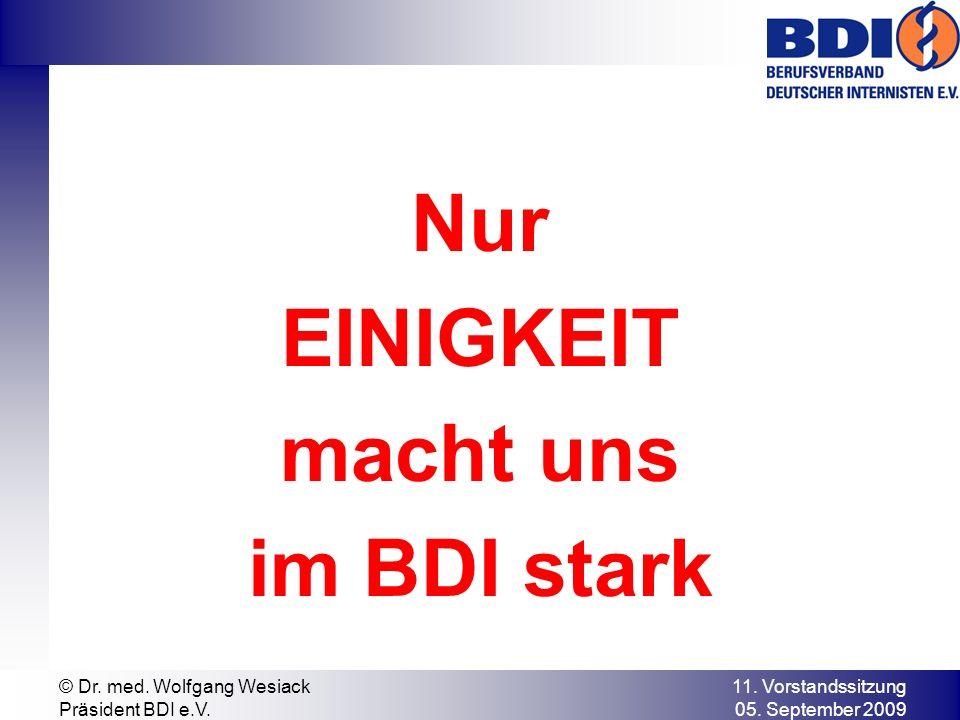 11. Vorstandssitzung 05. September 2009 © Dr. med. Wolfgang Wesiack Präsident BDI e.V. Nur EINIGKEIT macht uns im BDI stark