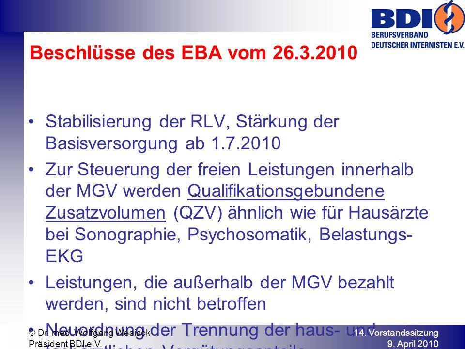 Beschlüsse des EBA vom 26.3.2010 Stabilisierung der RLV, Stärkung der Basisversorgung ab 1.7.2010 Zur Steuerung der freien Leistungen innerhalb der MGV werden Qualifikationsgebundene Zusatzvolumen (QZV) ähnlich wie für Hausärzte bei Sonographie, Psychosomatik, Belastungs- EKG Leistungen, die außerhalb der MGV bezahlt werden, sind nicht betroffen Neuordnung der Trennung der haus- und fachärztlichen Vergütungsanteile 14.