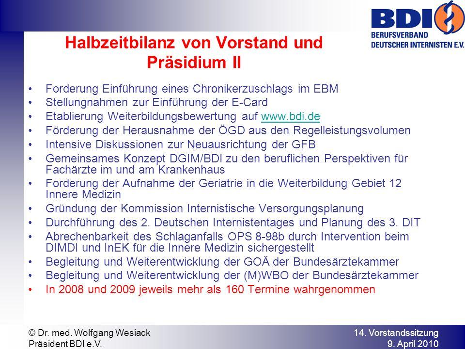 14. Vorstandssitzung 9. April 2010 © Dr. med. Wolfgang Wesiack Präsident BDI e.V. Forderung Einführung eines Chronikerzuschlags im EBM Stellungnahmen