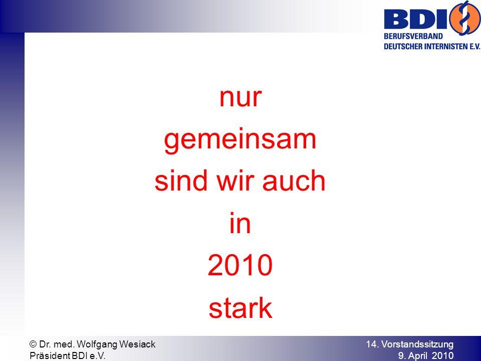 nur gemeinsam sind wir auch in 2010 stark 14. Vorstandssitzung 9. April 2010 © Dr. med. Wolfgang Wesiack Präsident BDI e.V.
