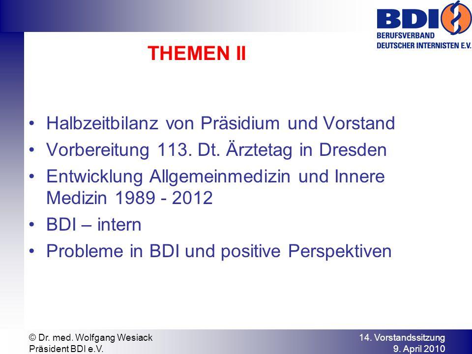 THEMEN II Halbzeitbilanz von Präsidium und Vorstand Vorbereitung 113. Dt. Ärztetag in Dresden Entwicklung Allgemeinmedizin und Innere Medizin 1989 - 2