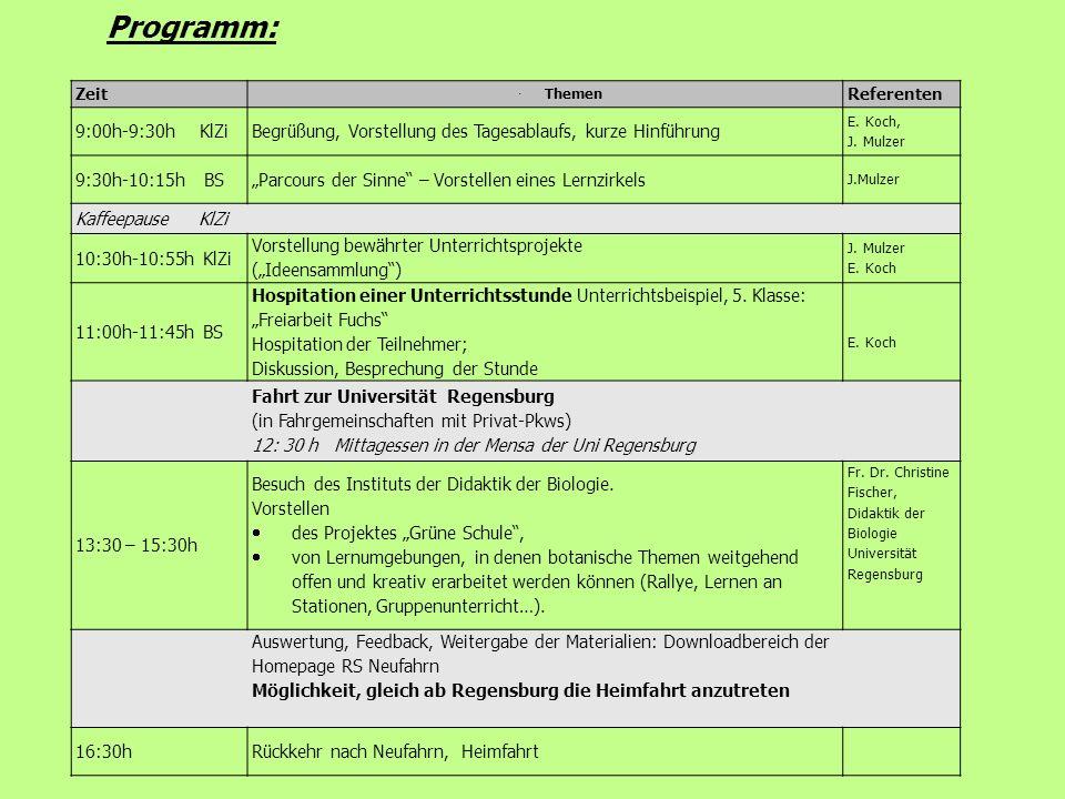 Zeit Themen Referenten 9:00h-9:30h KlZiBegrüßung, Vorstellung des Tagesablaufs, kurze Hinführung E. Koch, J. Mulzer 9:30h-10:15h BSParcours der Sinne