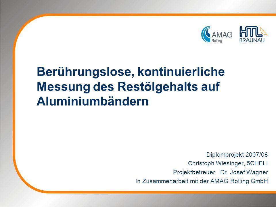 Berührungslose, kontinuierliche Messung des Restölgehalts auf Aluminiumbändern Diplomprojekt 2007/08 Christoph Wiesinger, 5CHELI Projektbetreuer: Dr.