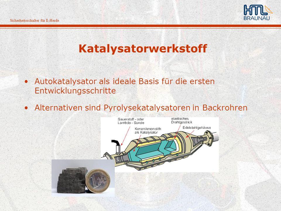 Sicherheitsschalter für E-Herde Katalysatorwerkstoff Autokatalysator als ideale Basis für die ersten Entwicklungsschritte Alternativen sind Pyrolyseka