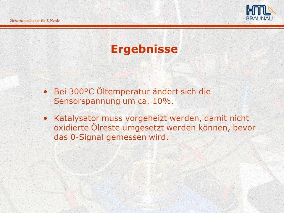 Sicherheitsschalter für E-Herde Ergebnisse Bei 300°C Öltemperatur ändert sich die Sensorspannung um ca. 10%. Katalysator muss vorgeheizt werden, damit