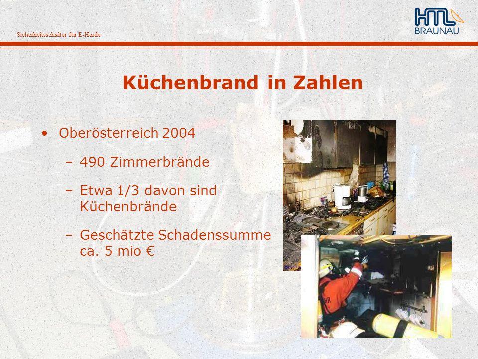 Sicherheitsschalter für E-Herde Küchenbrand in Zahlen Oberösterreich 2004 –490 Zimmerbrände –Etwa 1/3 davon sind Küchenbrände –Geschätzte Schadenssumm