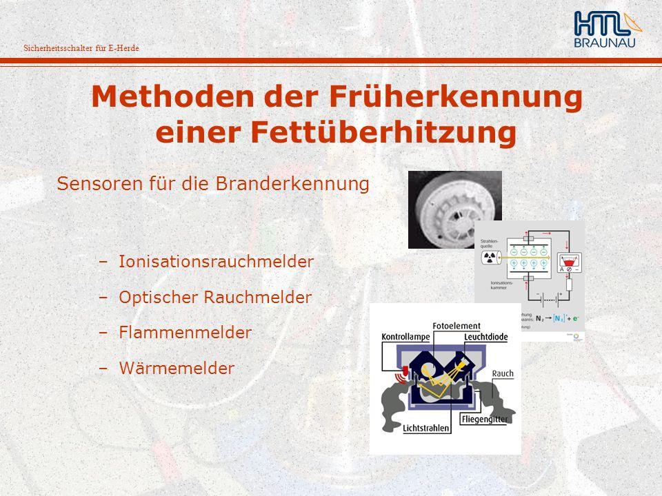 Sicherheitsschalter für E-Herde Methoden der Früherkennung einer Fettüberhitzung Sensoren für die Branderkennung –Ionisationsrauchmelder –Optischer Ra