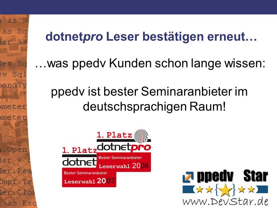 dotnetpro Leser bestätigen erneut… …was ppedv Kunden schon lange wissen: ppedv ist bester Seminaranbieter im deutschsprachigen Raum!