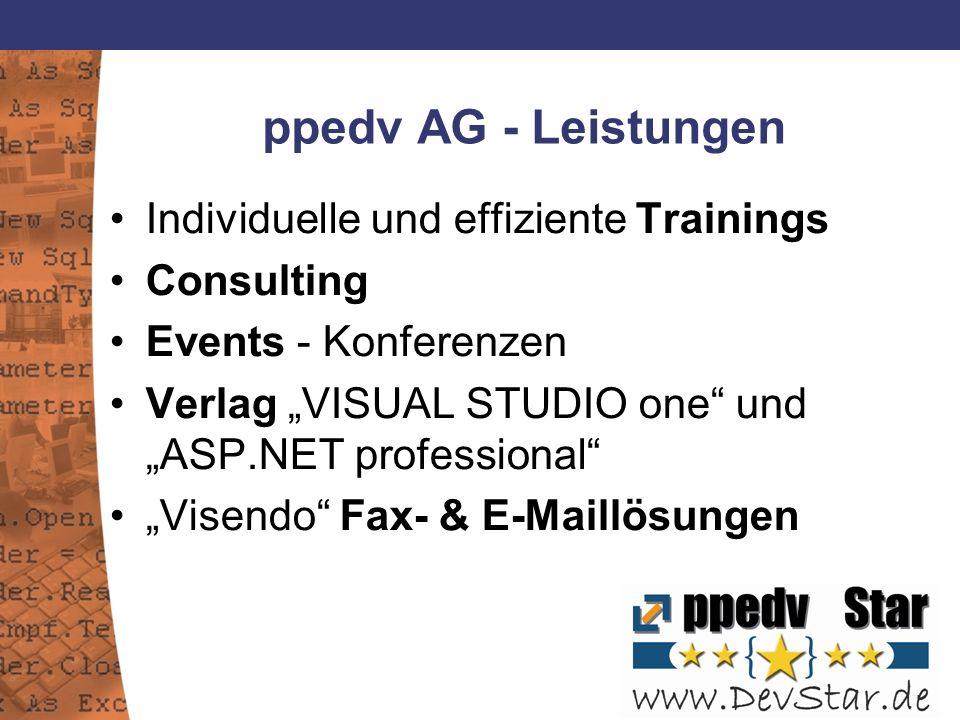ppedv AG - Leistungen Individuelle und effiziente Trainings Consulting Events - Konferenzen Verlag VISUAL STUDIO one und ASP.NET professional Visendo Fax- & E-Maillösungen