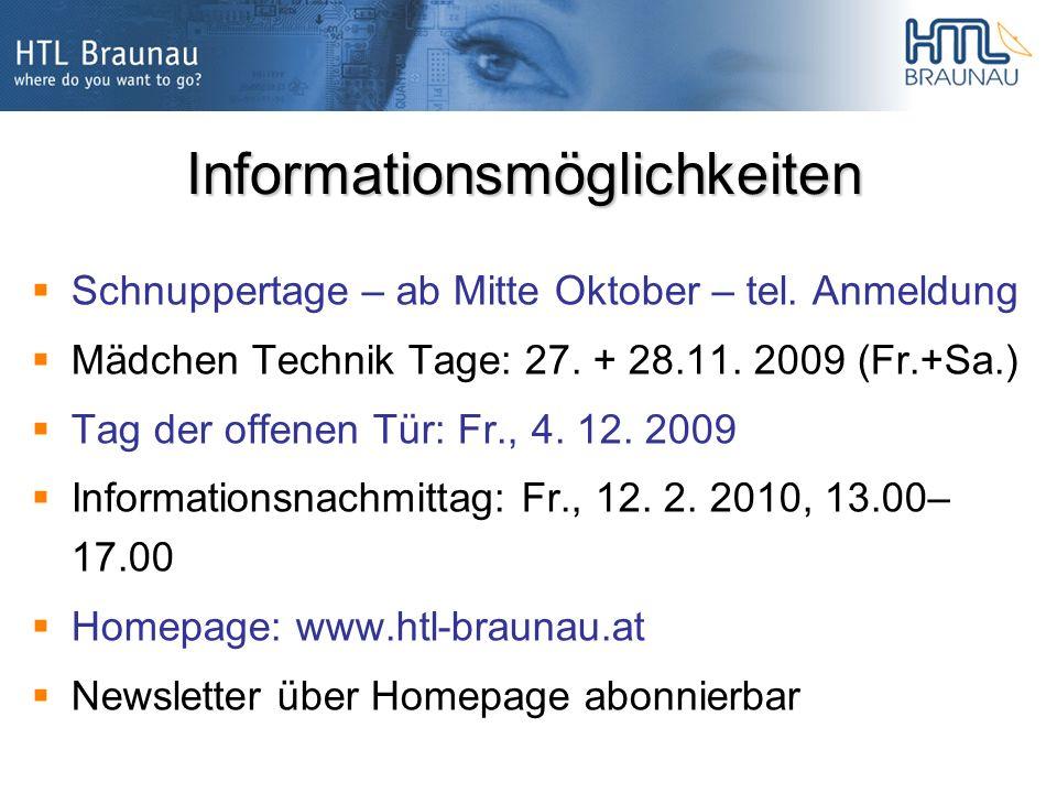 Informationsmöglichkeiten Schnuppertage – ab Mitte Oktober – tel.