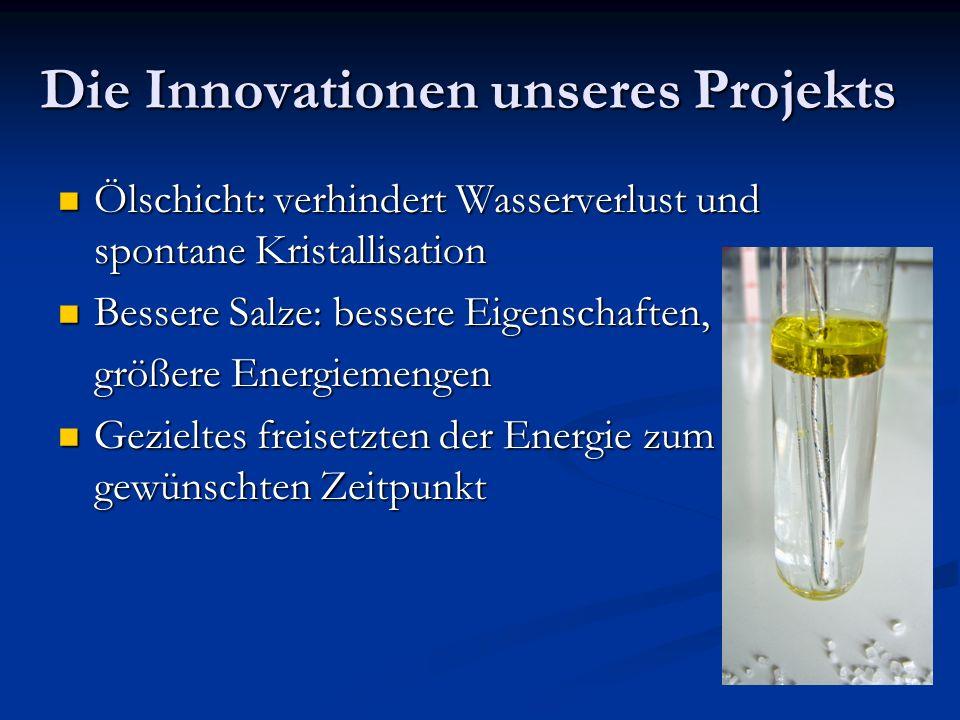 Die Innovationen unseres Projekts Ölschicht: verhindert Wasserverlust und spontane Kristallisation Ölschicht: verhindert Wasserverlust und spontane Kr