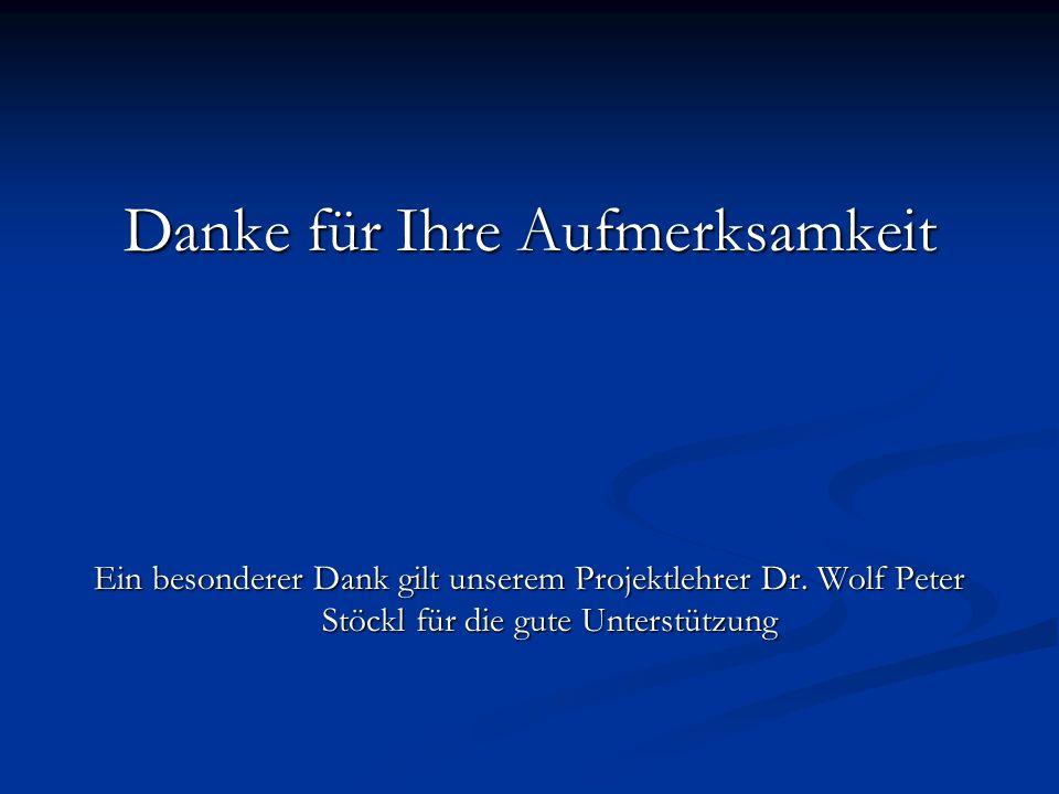 Danke für Ihre Aufmerksamkeit Ein besonderer Dank gilt unserem Projektlehrer Dr. Wolf Peter Stöckl für die gute Unterstützung