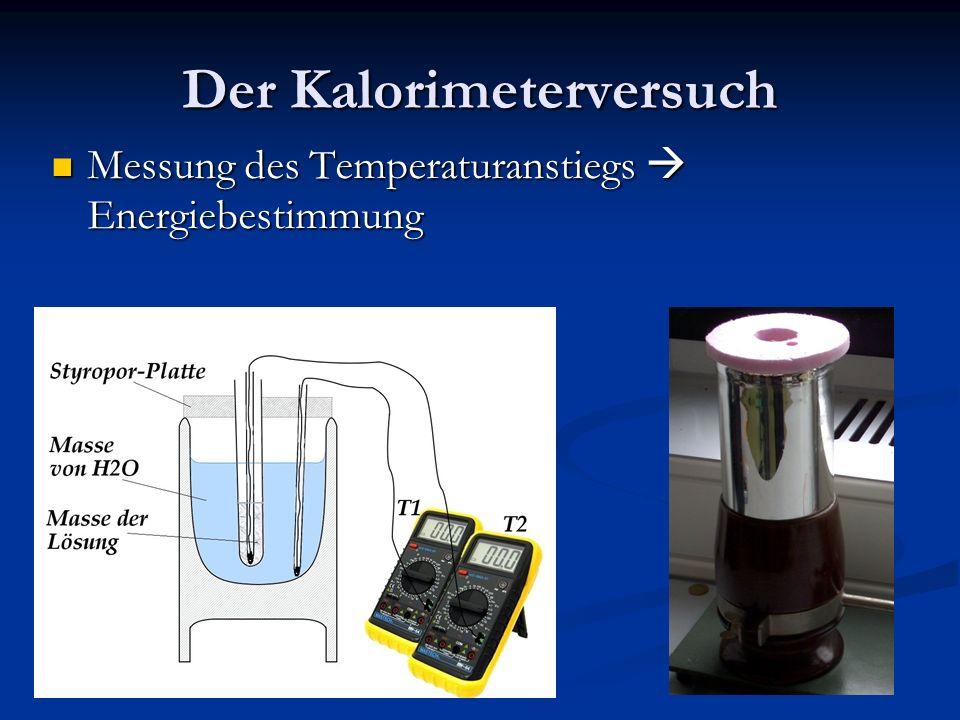 Der Kalorimeterversuch Messung des Temperaturanstiegs Energiebestimmung Messung des Temperaturanstiegs Energiebestimmung