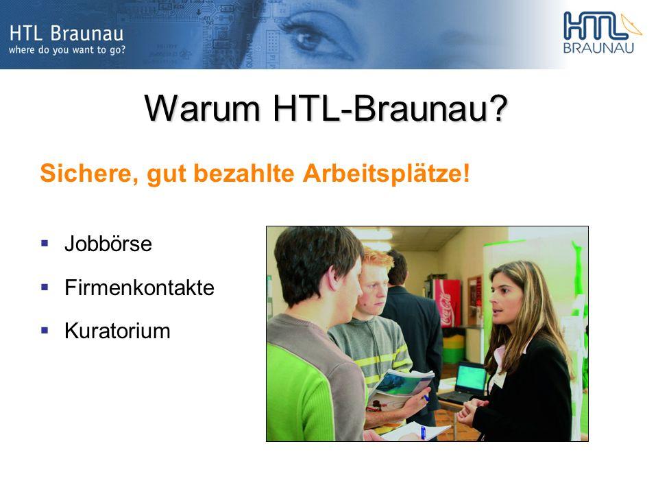 Warum HTL-Braunau? Sichere, gut bezahlte Arbeitsplätze! Jobbörse Firmenkontakte Kuratorium