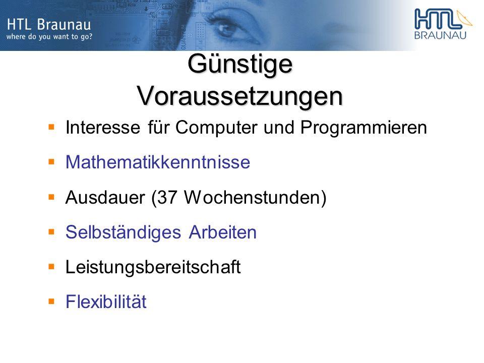 Günstige Voraussetzungen Interesse für Computer und Programmieren Mathematikkenntnisse Ausdauer (37 Wochenstunden) Selbständiges Arbeiten Leistungsbereitschaft Flexibilität