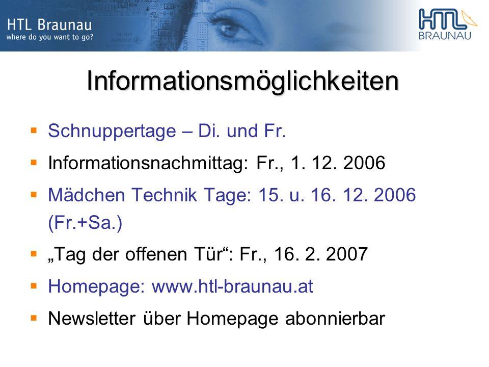 Informationsmöglichkeiten Schnuppertage – Di. und Fr.