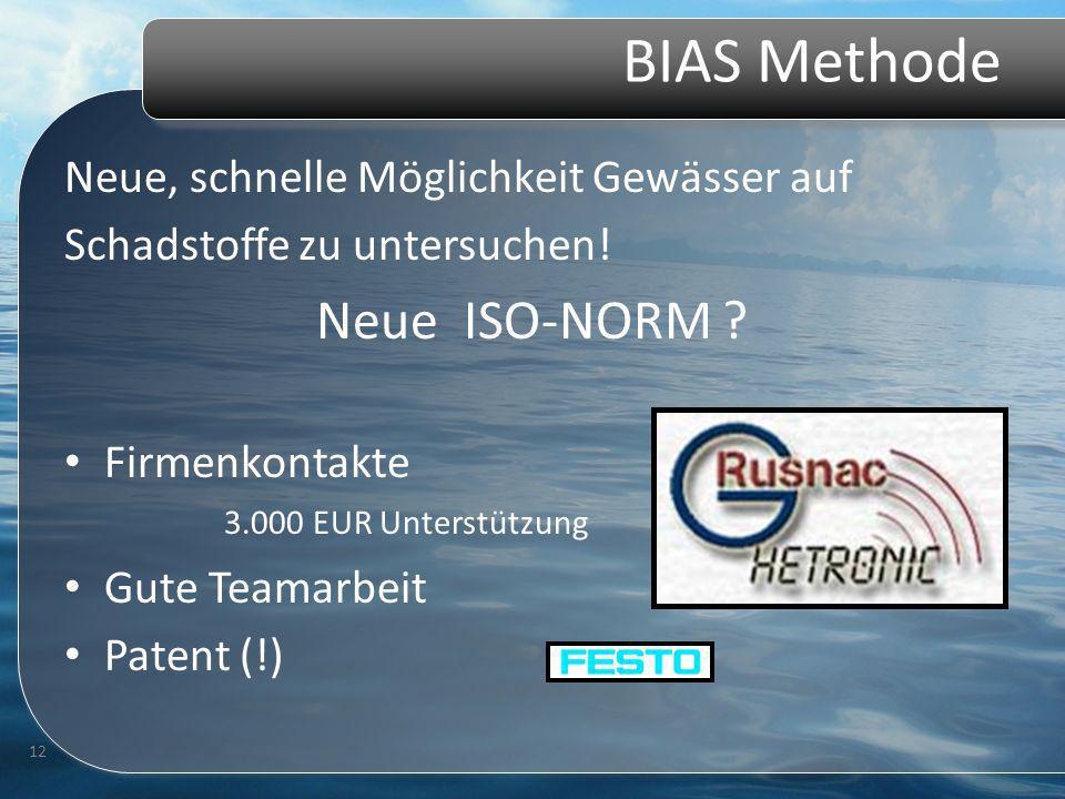 BIAS Methode Neue, schnelle Möglichkeit Gewässer auf Schadstoffe zu untersuchen! Neue ISO-NORM ? Firmenkontakte 3.000 EUR Unterstützung Gute Teamarbei