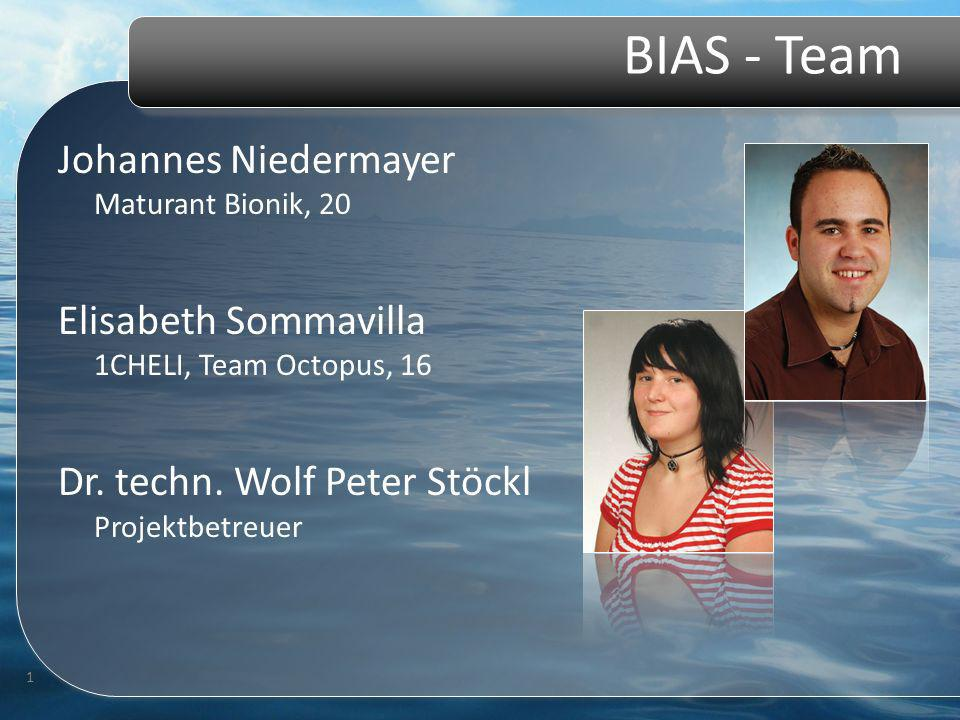 BIAS - Team Johannes Niedermayer Maturant Bionik, 20 Elisabeth Sommavilla 1CHELI, Team Octopus, 16 Dr. techn. Wolf Peter Stöckl Projektbetreuer 1