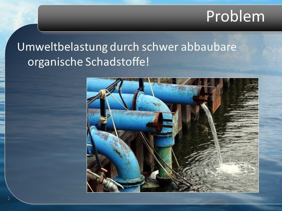 Problem Umweltbelastung durch schwer abbaubare organische Schadstoffe! 2