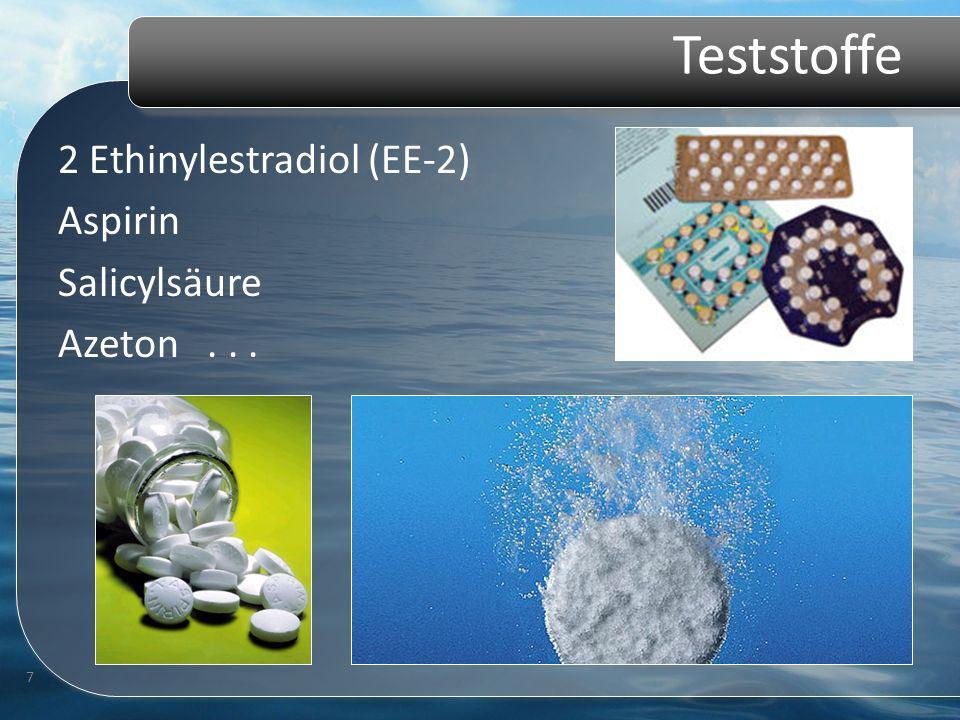 Teststoffe 2 Ethinylestradiol (EE-2) Aspirin Salicylsäure Azeton... 7
