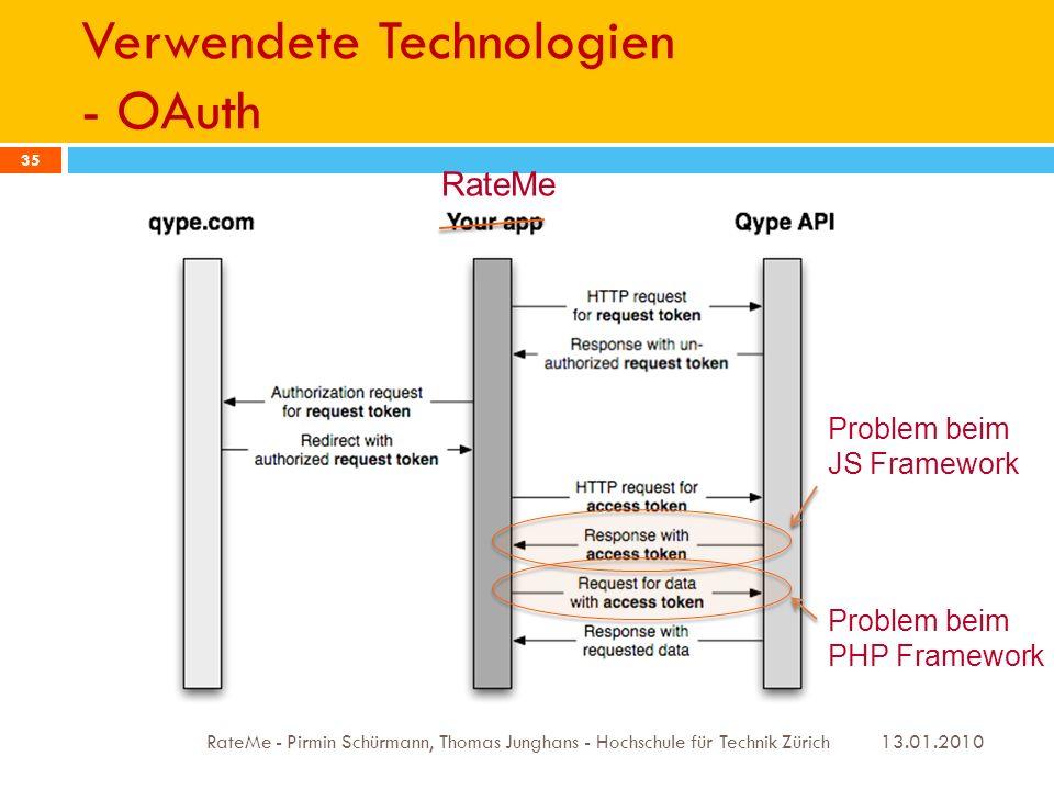 Verwendete Technologien - OAuth 13.01.2010 RateMe - Pirmin Schürmann, Thomas Junghans - Hochschule für Technik Zürich 35 RateMe Problem beim JS Framework Problem beim PHP Framework