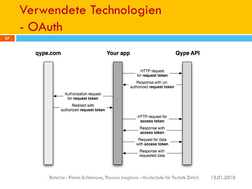 Verwendete Technologien - OAuth 13.01.2010 RateMe - Pirmin Schürmann, Thomas Junghans - Hochschule für Technik Zürich 37