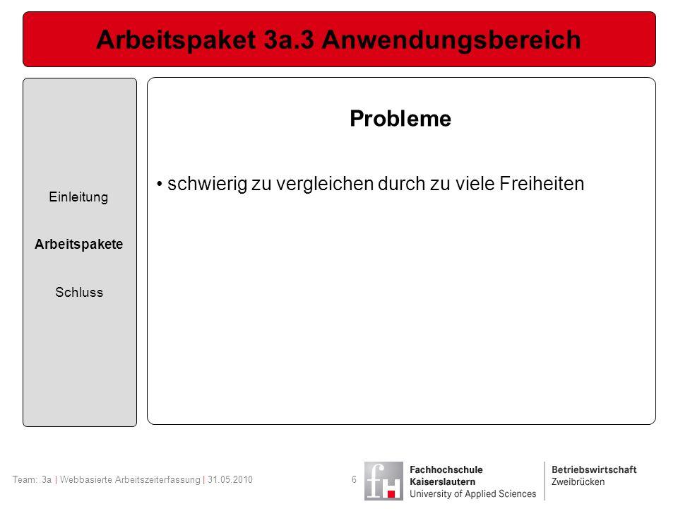 Arbeitspaket 3a.3 Anwendungsbereich Einleitung Arbeitspakete Schluss Team: 3a | Webbasierte Arbeitszeiterfassung | 31.05.20106 Probleme schwierig zu vergleichen durch zu viele Freiheiten