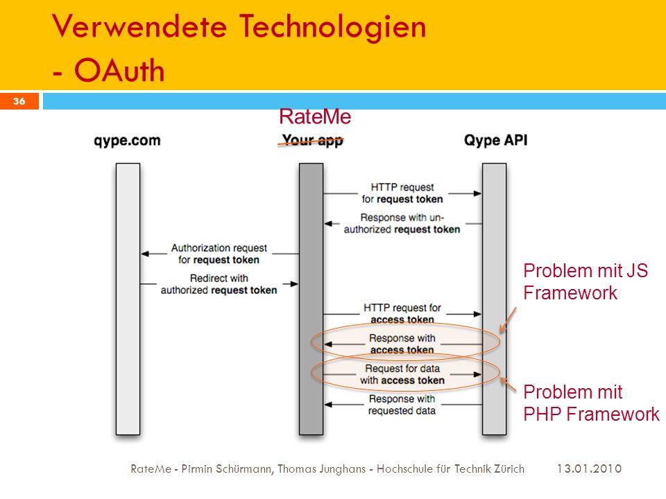 Verwendete Technologien - OAuth 13.01.2010 RateMe - Pirmin Schürmann, Thomas Junghans - Hochschule für Technik Zürich 36 RateMe Problem mit JS Framework Problem mit PHP Framework