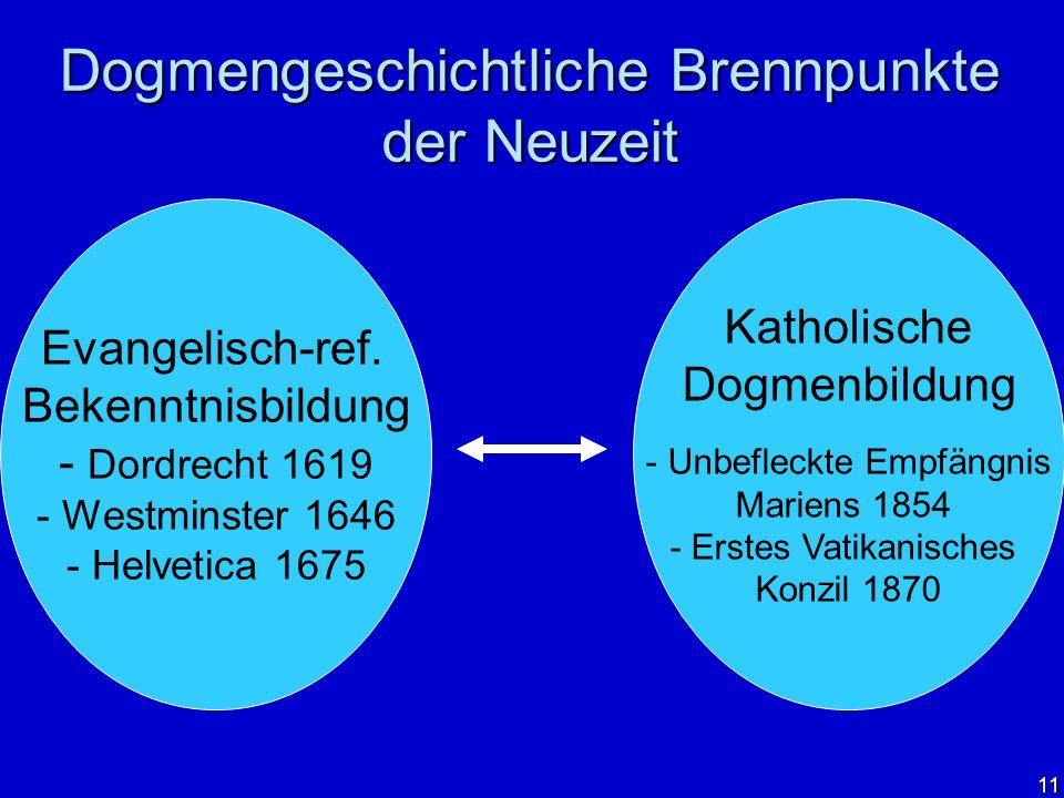 11 Dogmengeschichtliche Brennpunkte der Neuzeit Evangelisch-ref. Bekenntnisbildung - Dordrecht 1619 - Westminster 1646 - Helvetica 1675 Katholische Do