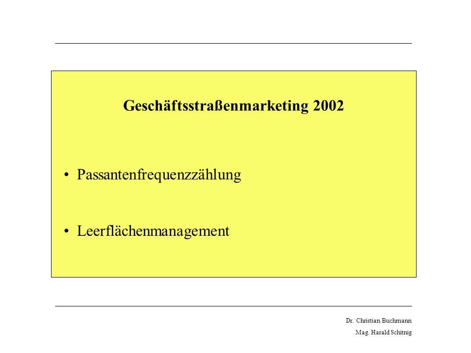 Geschäftsstraßenmarketing 2002 Passantenfrequenzzählung Leerflächenmanagement Dr.
