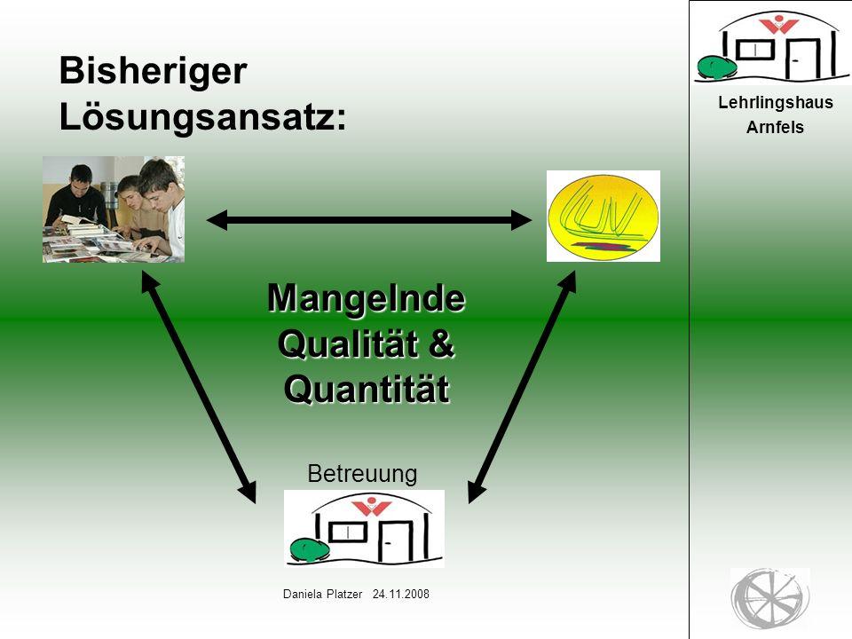 3 Daniela Platzer 24.11.2008 Lehrlingshaus Arnfels Bisheriger Lösungsansatz: Mangelnde Qualität & Quantität Betreuung