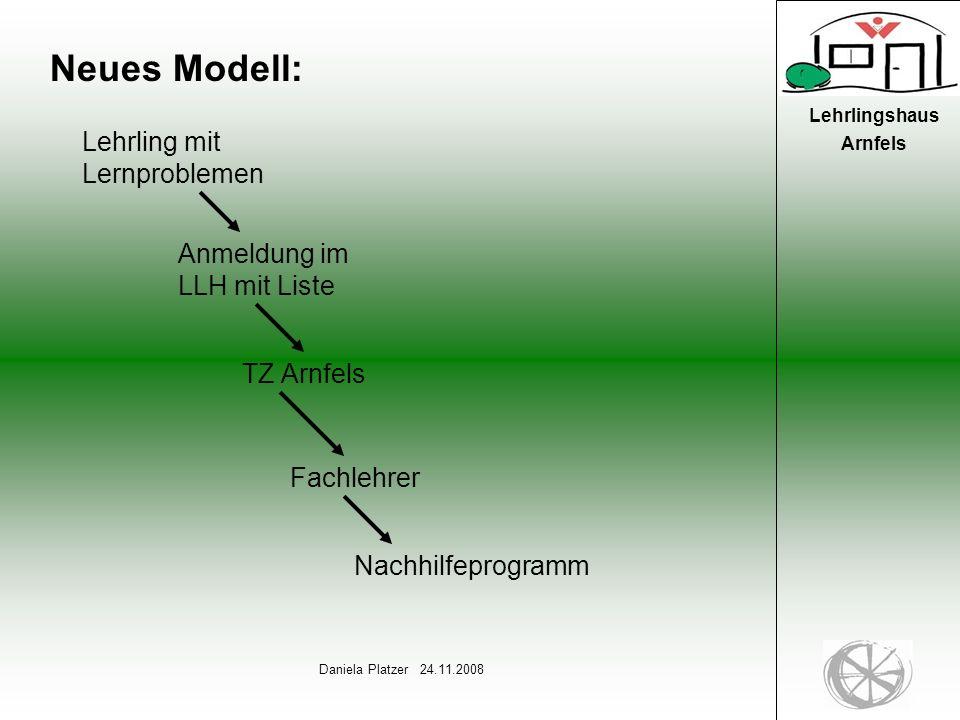7 Daniela Platzer 24.11.2008 Lehrlingshaus Arnfels Neues Modell: Lehrling mit Lernproblemen Anmeldung im LLH mit Liste TZ Arnfels Fachlehrer Nachhilfeprogramm