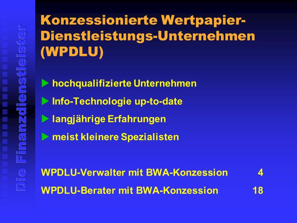 Konzessionierte Wertpapier- Dienstleistungs-Unternehmen (WPDLU) hochqualifizierte Unternehmen Info-Technologie up-to-date langjährige Erfahrungen meist kleinere Spezialisten WPDLU-Verwalter mit BWA-Konzession 4 WPDLU-Berater mit BWA-Konzession18