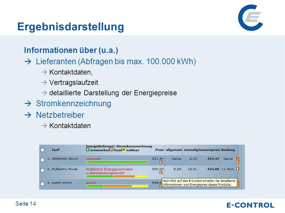 Seite 14 Ergebnisdarstellung Informationen über (u.a.) Lieferanten (Abfragen bis max. 100.000 kWh) Kontaktdaten, Vertragslaufzeit detaillierte Darstel