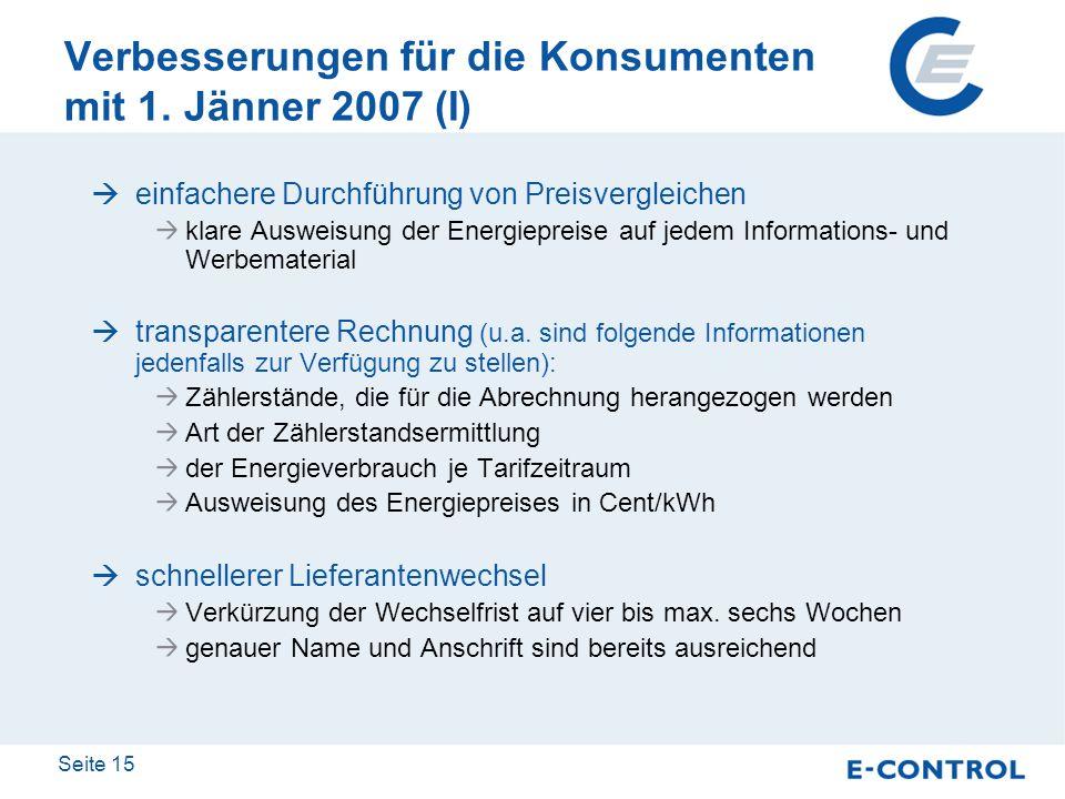 Seite 15 Verbesserungen für die Konsumenten mit 1. Jänner 2007 (I) einfachere Durchführung von Preisvergleichen klare Ausweisung der Energiepreise auf