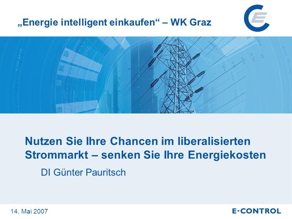 Seite 2 Nutzen Sie Ihre Chancen im liberalisierten Strommarkt – senken Sie Ihre Energiekosten DI Günter Pauritsch Energie intelligent einkaufen – WK G