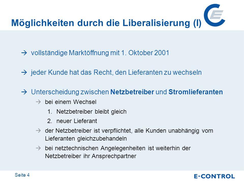 Seite 4 Möglichkeiten durch die Liberalisierung (I) vollständige Marktöffnung mit 1. Oktober 2001 jeder Kunde hat das Recht, den Lieferanten zu wechse