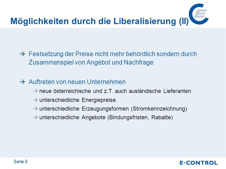 Seite 5 Möglichkeiten durch die Liberalisierung (II) Festsetzung der Preise nicht mehr behördlich sondern durch Zusammenspiel von Angebot und Nachfrag