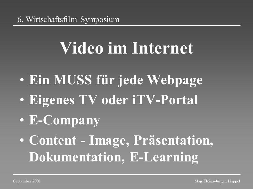 Video im Internet Ein MUSS für jede Webpage Eigenes TV oder iTV-Portal E-Company Content - Image, Präsentation, Dokumentation, E-Learning 6. Wirtschaf