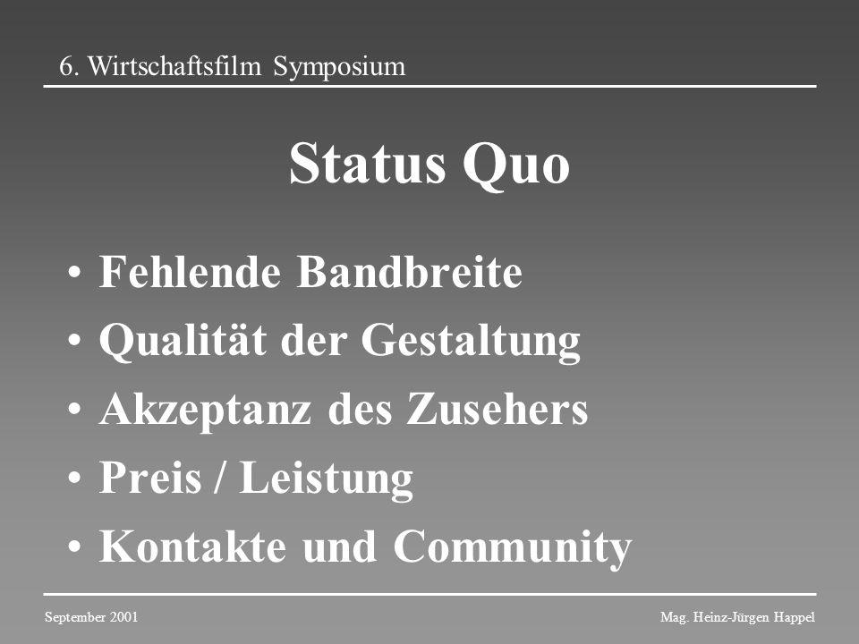 Status Quo Fehlende Bandbreite Qualität der Gestaltung Akzeptanz des Zusehers Preis / Leistung Kontakte und Community 6. Wirtschaftsfilm Symposium Sep