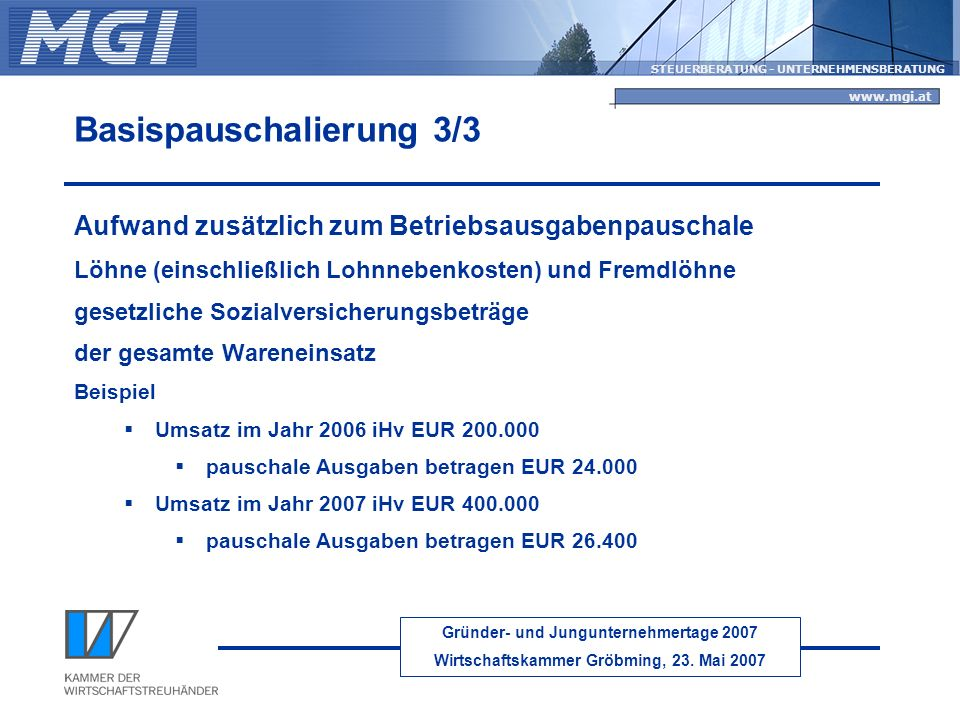 Gründer- und Jungunternehmertage 2007 Wirtschaftskammer Gröbming, 23. Mai 2007 STEUERBERATUNG - UNTERNEHMENSBERATUNG www.mgi.at Basispauschalierung 3/