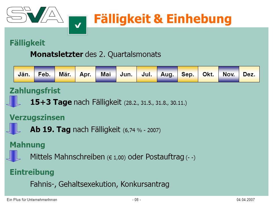 Ein Plus für UnternehmerInnen04.04.2007- 08 - Fälligkeit & Einhebung Jän.Feb.Apr.Mär.MaiJun.Jul.Sep.Okt.Dez.Aug.Nov.