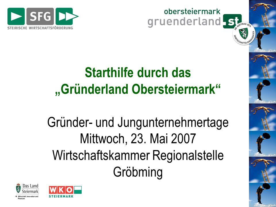 Starthilfe durch das Gründerland Obersteiermark Gründer- und Jungunternehmertage Mittwoch, 23. Mai 2007 Wirtschaftskammer Regionalstelle Gröbming
