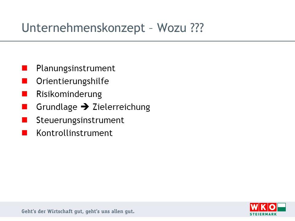 Unternehmenskonzept – Wozu ??.