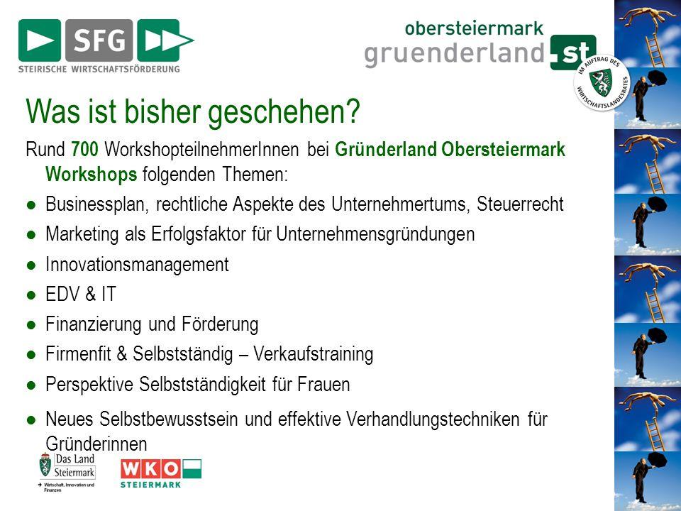 Was ist bisher geschehen? Rund 700 WorkshopteilnehmerInnen bei Gründerland Obersteiermark Workshops folgenden Themen: Businessplan, rechtliche Aspekte