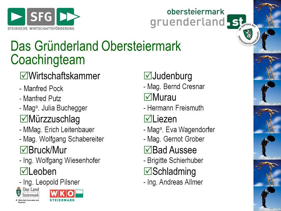 Das Gründerland Obersteiermark Coachingteam Wirtschaftskammer - Manfred Pock - Manfred Putz - Mag a. Julia Buchegger Mürzzuschlag - MMag. Erich Leiten