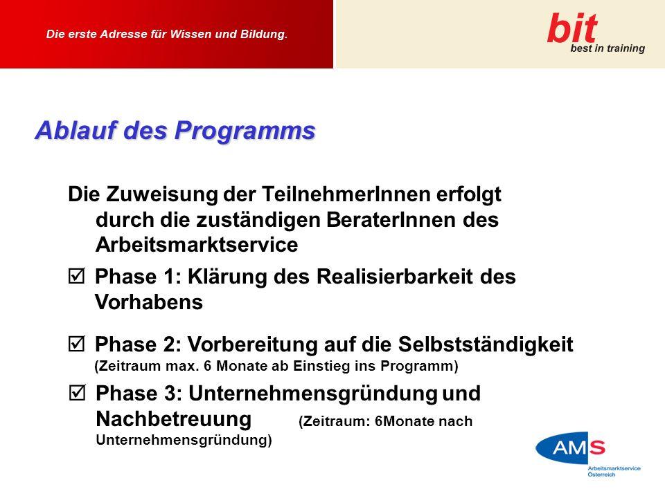 Ablauf des Programms Die Zuweisung der TeilnehmerInnen erfolgt durch die zuständigen BeraterInnen des Arbeitsmarktservice Phase 1: Klärung des Realisierbarkeit des Vorhabens Phase 2: Vorbereitung auf die Selbstständigkeit (Zeitraum max.