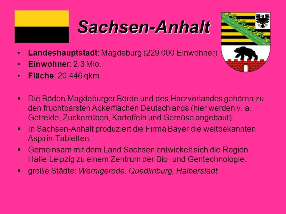 Sachsen-Anhalt Landeshauptstadt: Magdeburg (229 000 Einwohner) Einwohner: 2,3 Mio.