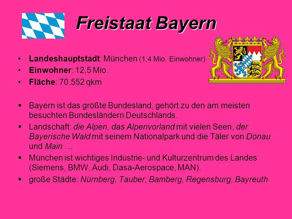 Freistaat Bayern Landeshauptstadt: München (1,4 Mio.